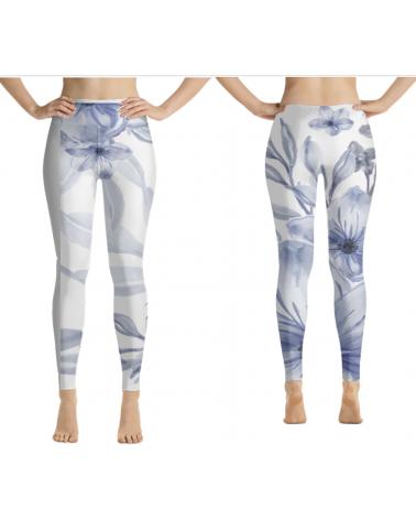 Custom Blue Flower leggings...