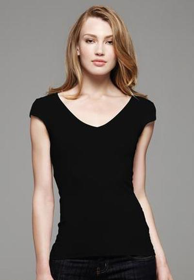 Sheer Rib Cap Sleeve Deep VNeck Ladies Tee