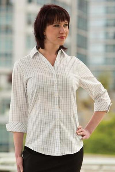 Custom Tattersall Check Ladies Woven shirt | Design Your Own | No Min