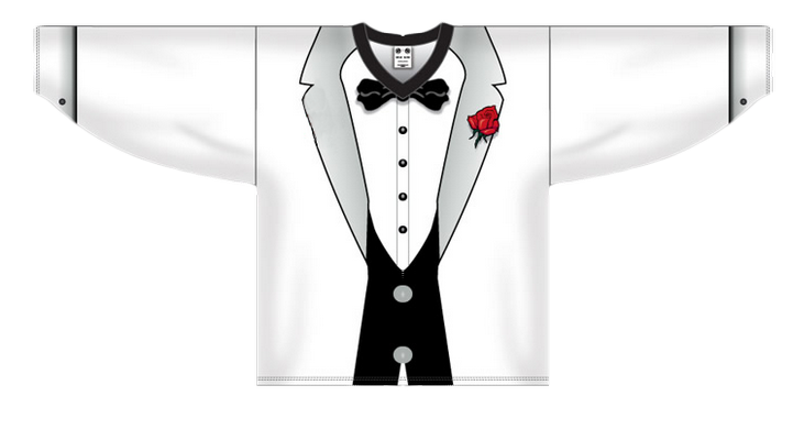 * White tuxedo  Customized  hockey jersey