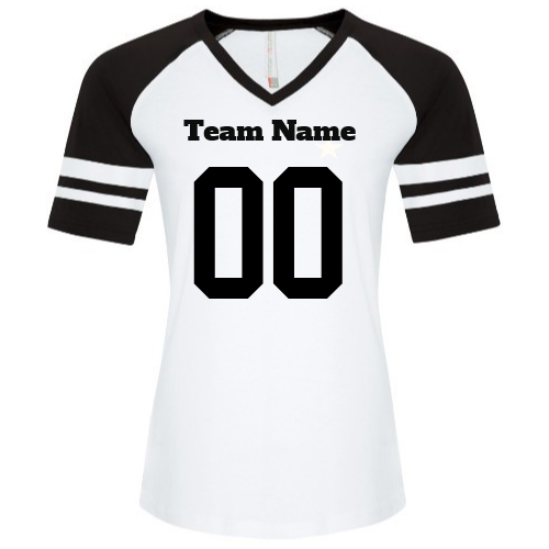 Customized  | Ladies Football / Baseball Tee | Design Your Own | No Min