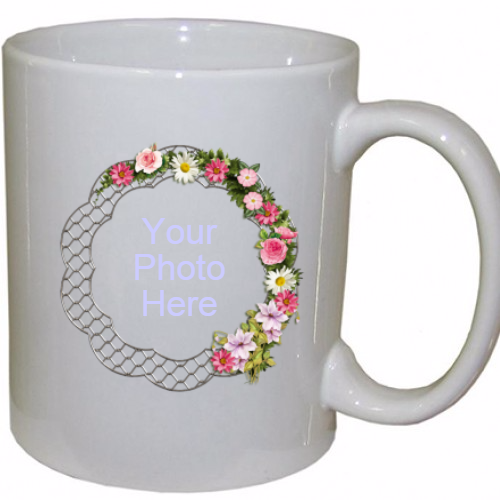 Personalized Flower Frame  Coffee Mug